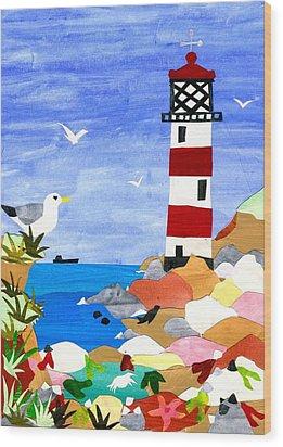 Lighthouse Wood Print by Judy Adamson