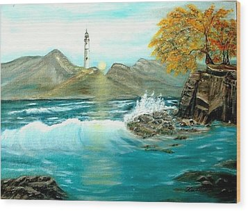 Lighthouse Wood Print by Kenneth LePoidevin