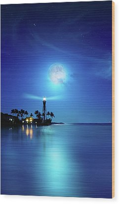 Lighthouse Moon Wood Print