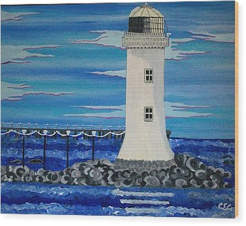 Wood Print featuring the painting Lighthouse On The Shannon by Carolyn Cable