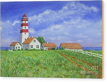 Lighthouse Pasture Wood Print by Val Miller