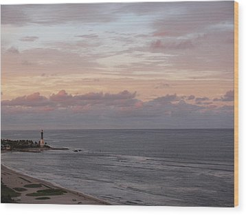 Lighthouse Peach Sunset Wood Print