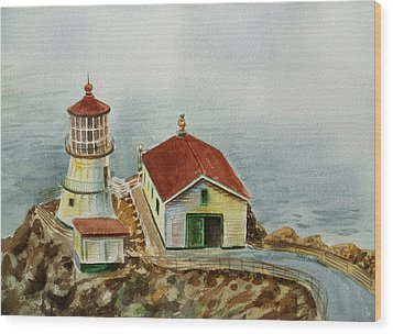 Lighthouse Point Reyes California Wood Print