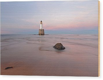 Wood Print featuring the photograph Lighthouse Sunset Rattray Head by Grant Glendinning