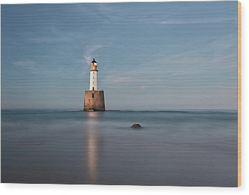 Wood Print featuring the photograph Lighthouse Twilight by Grant Glendinning