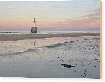 Wood Print featuring the photograph Lighthouse Sunset - Rattray Head by Grant Glendinning