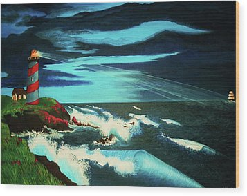Lighthouse Rescue Wood Print