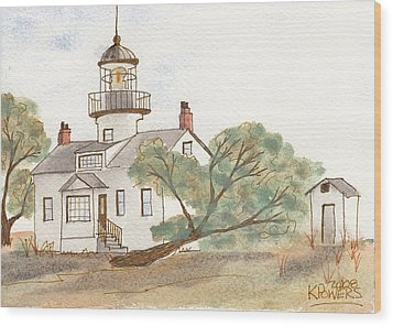 Lighthouse Sketch Wood Print by Ken Powers