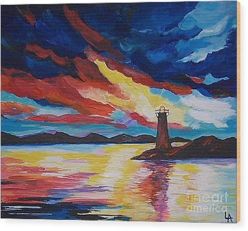 Wood Print featuring the painting Lighthouse Storm by Leslie Allen