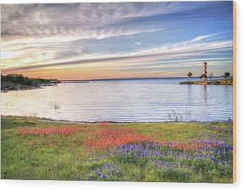 Lighthouse Sunset At Lake Buchanan Wood Print