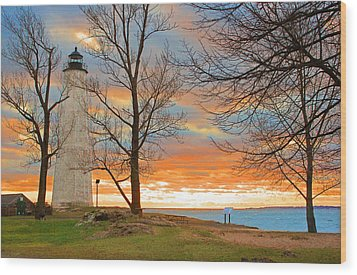 Lighthouse Sunset Wood Print by Cathy Leite Photography