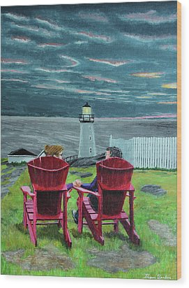 Lighthouse Lovers Wood Print