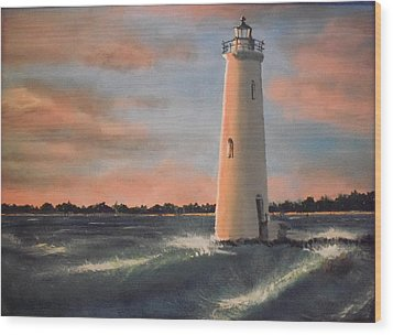 Lighthouse Waves Wood Print