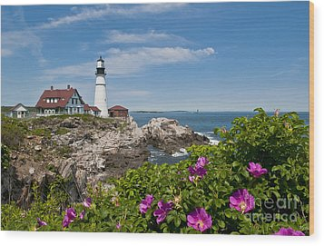 Lighthouse With Rocks On Shore Wood Print by Bill Bachmann and Photo Researchers