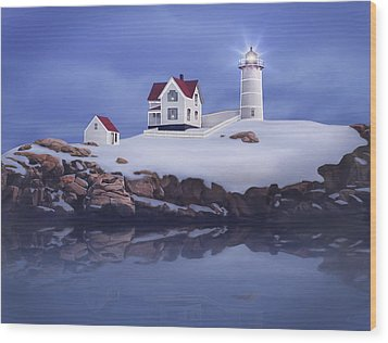 Lighting Of The Nubble Lighthouse Wood Print by James Charles