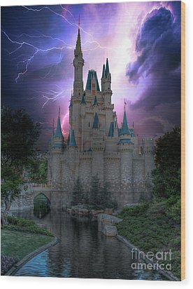 Lighting Over The Castle Wood Print