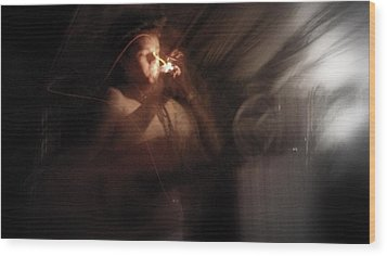 Wood Print featuring the photograph Lighting The Cigarette by Karen Musick