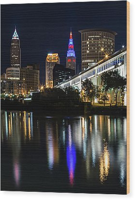 Wood Print featuring the photograph Lighting Up Cleveland by Dale Kincaid