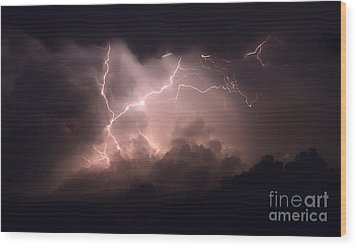Lightning 2 Wood Print by Bob Christopher