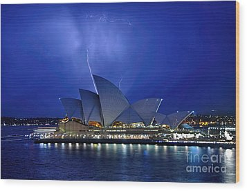 Lightning Above The Opera House Wood Print by Kaye Menner