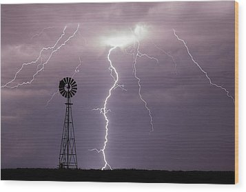 Lightning And Windmill -02 Wood Print by Rob Graham