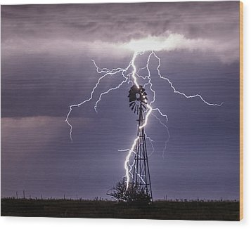 Lightning And Windmill Wood Print by Rob Graham