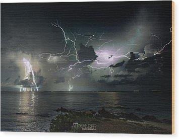 Lightning At The Bermuda Triangle Wood Print by Karl Alexander