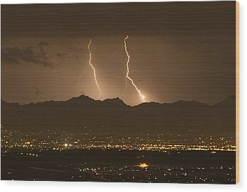 Lightning Bolt Strikes Out Of A Typical Wood Print by Mike Theiss