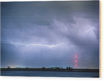 Lightning Bolting Across The Sky Wood Print by James BO  Insogna