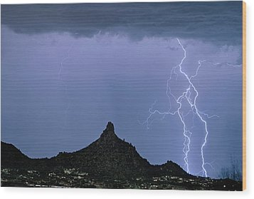 Wood Print featuring the photograph Lightning Bolts And Pinnacle Peak North Scottsdale Arizona by James BO Insogna