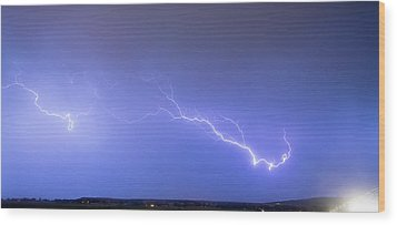 Lightning Bolts Coming In For A Landing Panorama Wood Print by James BO  Insogna