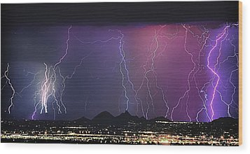 Lightning City Wood Print by James BO  Insogna