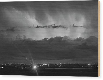 Lightning Cloud Burst Black And White Wood Print by James BO  Insogna