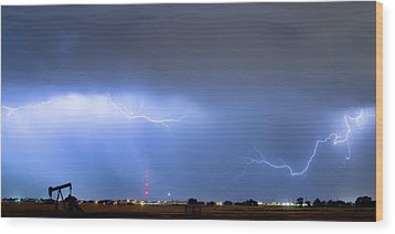Wood Print featuring the photograph  Lightning Michelangelo Style Panorama by James BO Insogna
