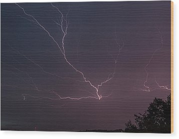 Lightning Over Lake Lanier Wood Print by Michael Sussman