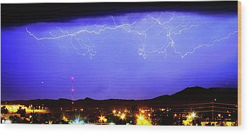 Lightning Over Loveland Colorado Foothills Panorama Wood Print by James BO  Insogna
