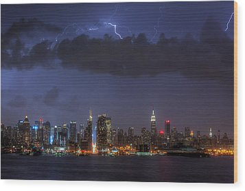 Lightning Over New York City I Wood Print by Clarence Holmes