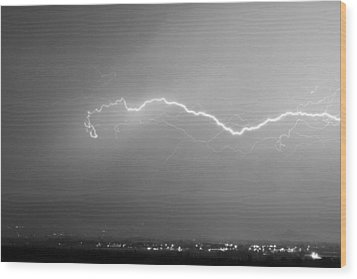 Lightning Over North Boulder Colorado  Ibm Bw Wood Print by James BO  Insogna