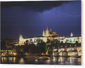 Wood Print featuring the photograph Lightning Over Prague Castle by Alex Lapidus