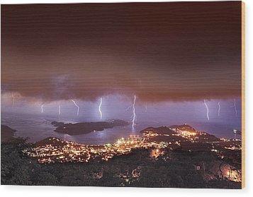 Lightning Over Water Island Wood Print
