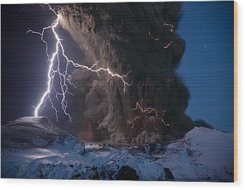 Lightning Pierces The Erupting Wood Print by Sigurdur H Stefnisson