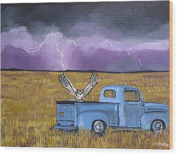 Lightning Storm Wood Print by Aleta Parks