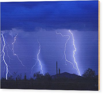 Lightning Storm In The Desert Fine Art Photography Print Wood Print by James BO  Insogna