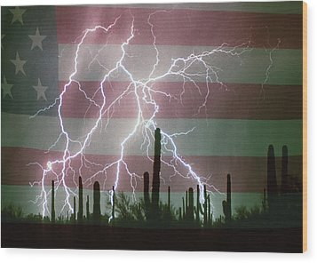 Lightning Storm In The Usa Desert Flag Background Wood Print by James BO  Insogna