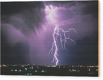 Lightning Storm Wood Print by Leland D Howard