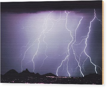 Lightning Storm North Scottsdale Az 85255 Wood Print by James BO  Insogna