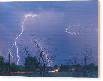 Lightning Storm On 17th Street Fine Art Print Wood Print by James BO  Insogna