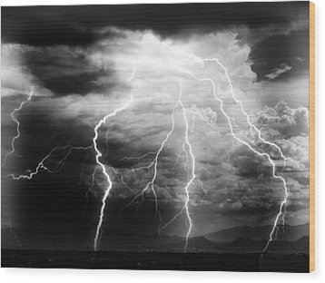 Wood Print featuring the photograph Lightning Storm Over The Plains by Joseph Frank Baraba
