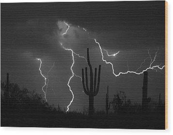 Lightning Storm Saguaro Fine Art Bw Photography Wood Print by James BO  Insogna