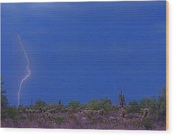 Lightning Strike In The Desert Wood Print by James BO  Insogna